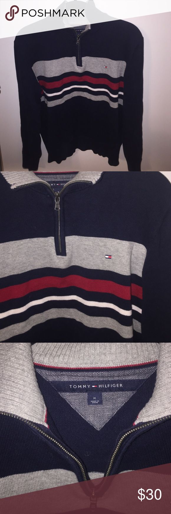 Tommy Hilfiger Zip Up Sweater/Sweatshirt Cute and stylish. Vintage look! Navy color with red and white stripes Tommy Hilfiger Tops Sweatshirts & Hoodies