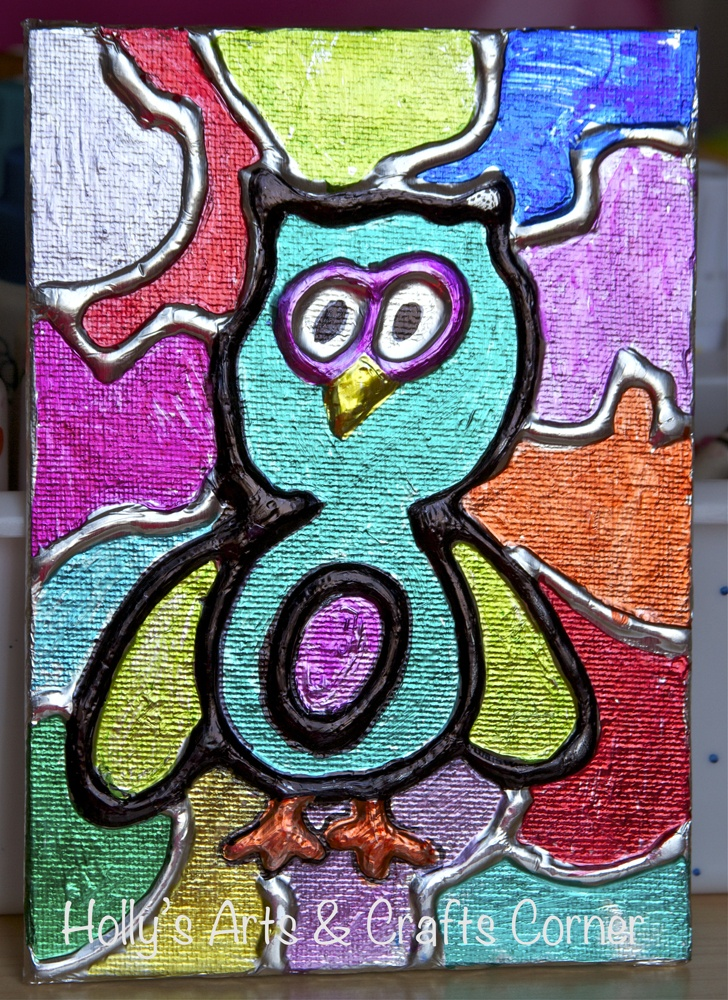 Holly's Arts and Crafts Corner: Craft Project: Gifts for Summer Sitter...foil embossed canvas board, colored with Sharpies