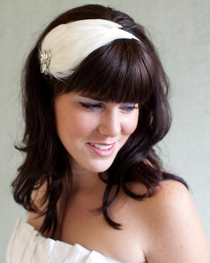 Ivory Bridal Feather Headband or Clip