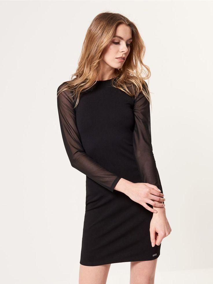 Černé šaty s průhlednými rukávy, MOHITO, SF747-99X