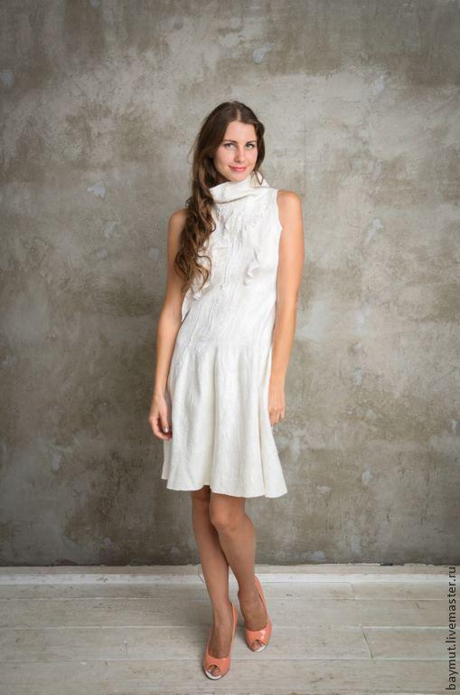Платья ручной работы. Ярмарка Мастеров - ручная работа. Купить Белое валяное платье. Handmade. Валяное платье, шерстяное платье