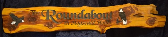 Cedar Sign 5 foot The Roundabout in Hogscale Holler  Hand Painted Eagles   #cabin #rusticsigns #rustic #cabindecor #rusticdecor
