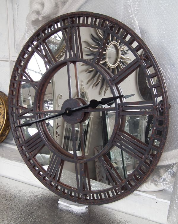 Antique Iron Wall Clock With Mirrored Clock Face Mirrors