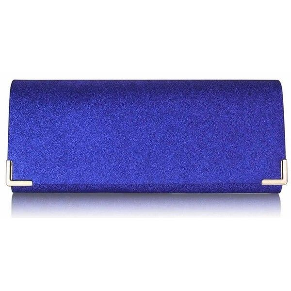Blue Glitter Clutch Bag (614) (41 PEN) ❤ liked on Polyvore featuring bags, handbags, clutches, glitter purse, sparkly purses, blue envelope clutch, royal blue handbag and clasp purse