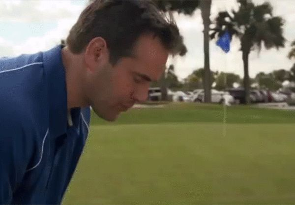 A lot of people get nervous and tense-up before they hit their shot, which usually leads to sketchy results. To practice staying nice and loose, hit some balls with a cookie in your mouth. If you clench down and break the cookie, there's too much tension in your swing.