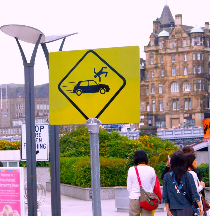 Funny picture - funny sign, pedestrian warning, picture by doug88888