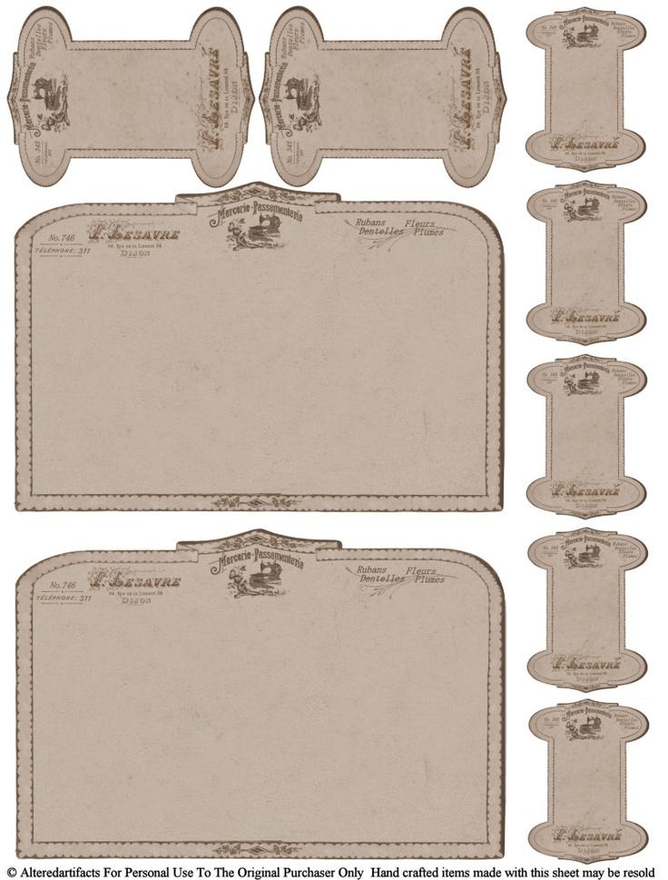 Free printable vintage card spools