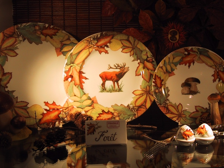"""collection """"autumn leaves"""" plates , cups and saucers, coffee or tea sets... and lovely accents in Limoges porcelain. mix and match of colors, animals, mushrooms, or autums leaves....forest and wood accents Brand: Fragile Collection, designer Patricia Deroubaix. France"""