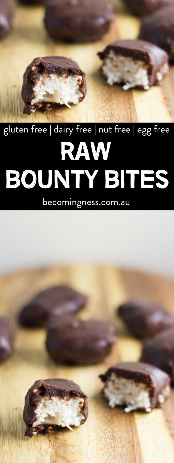 I recently asked my readers over on my Facebook page what dessert that they  would like to see next from a selection of desserts that I have been  thinking of making and the resounding winner was Raw Bounty Bites.  So off I went experimenting with flavours, and I have come up with what I  think