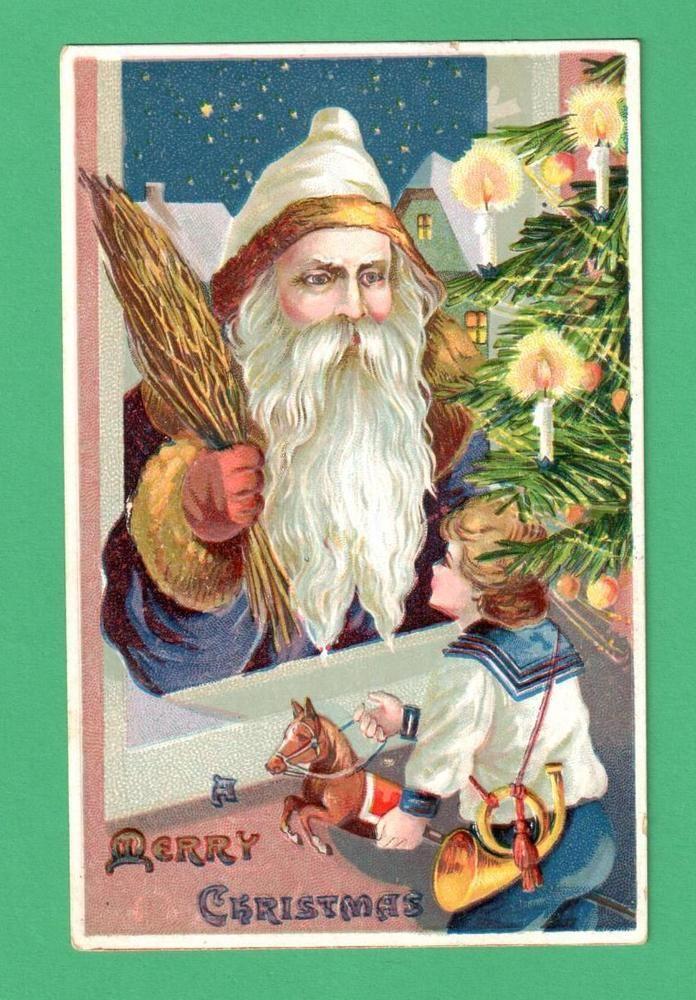 VINTAGE CHRISTMAS SANTA CLAUS POSTCARD WINDOW BOY TOYS SNOW TREE SWITCHES #Christmas