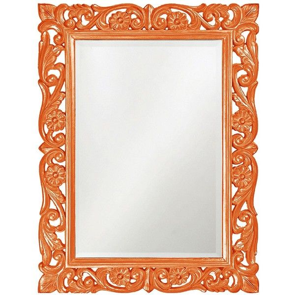 "Howard Elliott Chateau 31"" x 41"" Orange Wall Mirror (435 CAD) ❤ liked on Polyvore featuring home, home decor, mirrors, orange, interior wall decor, wall mirrors, howard elliott, rectangle wall mirror and rectangular wall mirror"