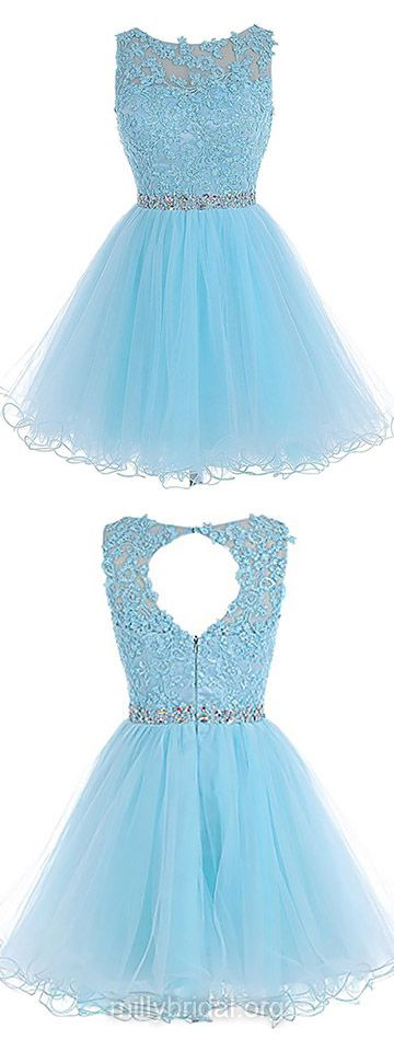 Sweet Blue Prom Dresses,Princess Cocktail Dress,Scoop Neck Tulle Party Gowns,Short/Mini Beading Homecoming Dresses