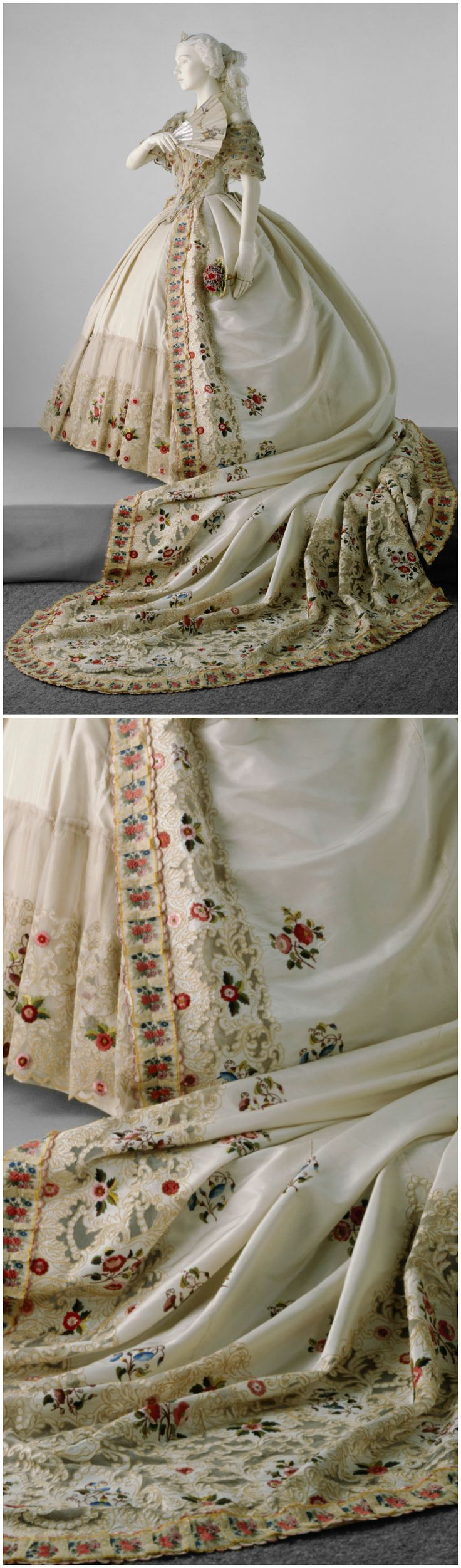 Court dress of ivory silk and silk tulle, Great Britain, 1860-65. Photos © Victoria and Albert Museum, London. Low neck and short sleeves trimmed with tiers of net, machine embroidered in yellow chain stitch, which is also on the front of the bodice, where it is edged with ruched yellow and white gauze ribbon. Train, 11 ft. long, attaches to waist, hand-embroidered in satin stitch with roses and morning glory, edges trimmed with machine embroidered net-insertion with pleated ribbon borders.