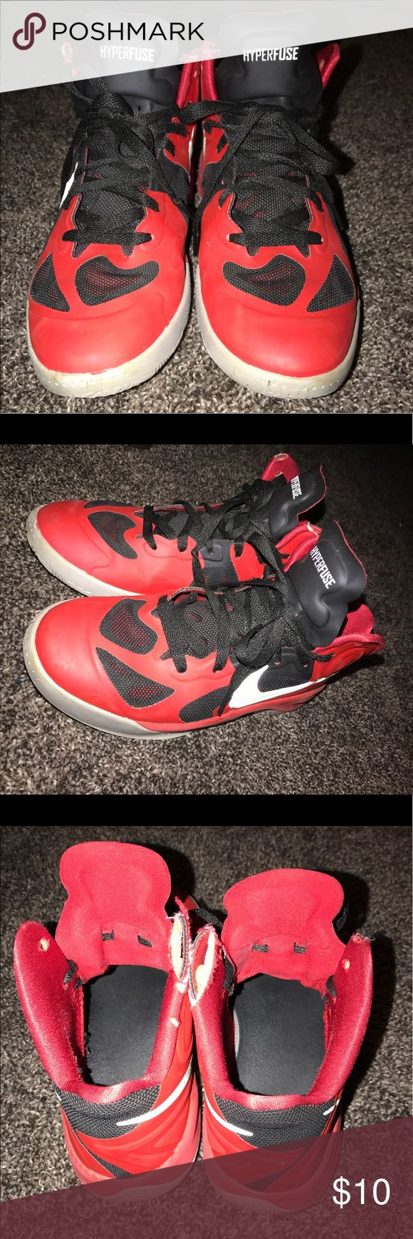 Red Nike Hyperfuse Basketball Shoes used. Red super comfortable and good ankle support shoes . inside ankle support ripped on both insides and a little on pitt side of right shoe Nike Shoes Athletic Shoes