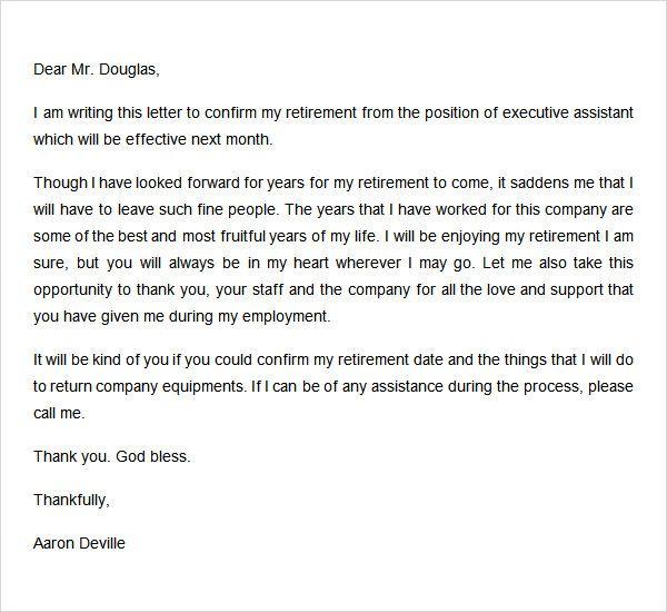 Retirement Letter Format Resignation Letters Lettering
