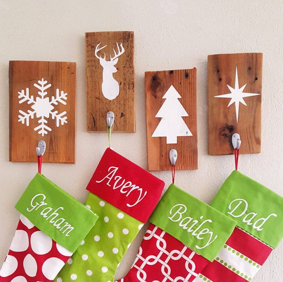Rustic Wood Stocking Holder Christmas Stocking by BrandNewToMe