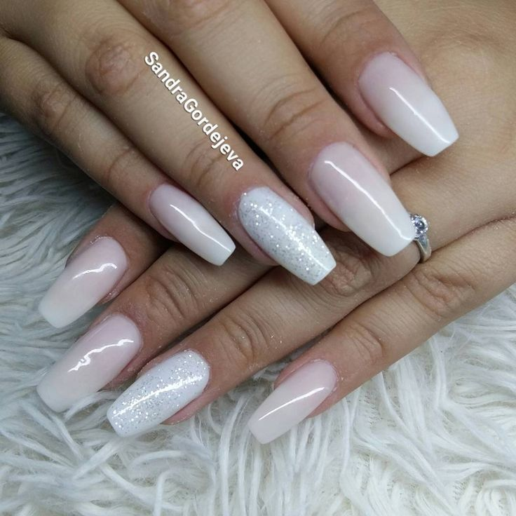 balerina nails light rose and white ombre nails