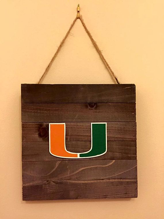 Miami Hurricanes Canes rustic wood sign by Stuff4Fans on Etsy