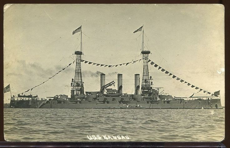 REAL PHOTO POSTCARD RPPC BANANA WARS U.S.S KANSAS US BATTLESHIP 1910-1916