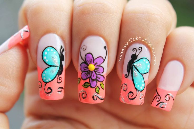 Decoracion de uñas mariposas y flores facil - Butterfly and flower nail art  - YouTube