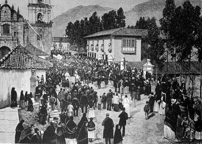 1895, Puente de San Francisco y al fondo, la Plaza de las Hierbas que corresponde al Parque Santander - Bogotá, Colombia