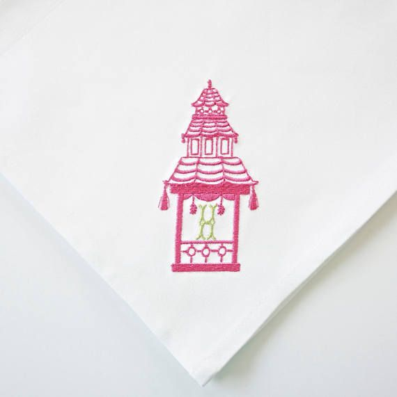 Pagoda & Monogram Embroidered Linen Hand Towels. These unique and beautiful linen towels are perfect for kitchens and powder rooms. They are hard working in the kitchen and customized for the bath. They also make a great hostess or housewarming gift. ORDER INSTRUCTIONS FOR MONOGRAMS: 1. SELECT LINEN STYLE FROM DROP DOWN MENU 2. FIRST INITIAL 3. LAST INITIAL 4. THREAD COLORS FOR MONOGRAM & PAGODA 5. CAN SELECT ALTERNATE MONOGRAM STYLE PLEASE DESCRIBE ANY VARIATIONS IN THE ORDER NOTES ...