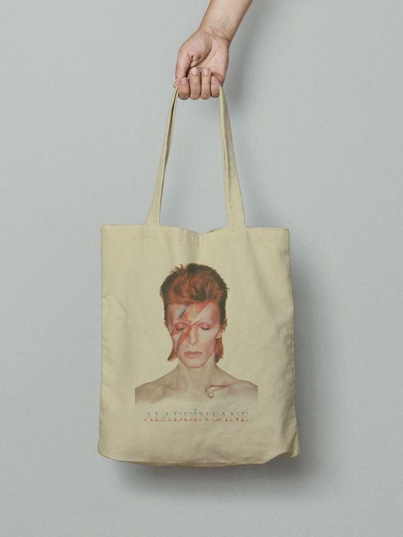 David Bowie Tote Bag, Market bag, Fabric grocery bag, Shoulder strap, Unique design and gift