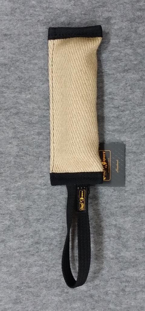 Gryzak piszczący z juty z jednym uchwytem 5 x 26cm