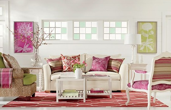 Pink green living room for the home pinterest for Green and pink living room ideas