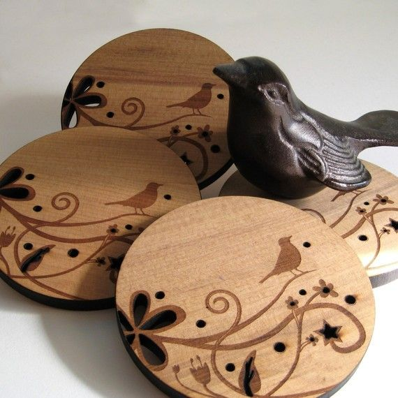 Wood Drink Coasters Bird on a Branch set of 4 by peppersprouts, $30.00