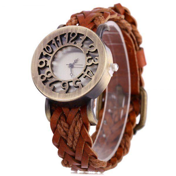$3.34 Fashional Quartz Watch Hollow Dial Retro Women Wristwatch Textile Band