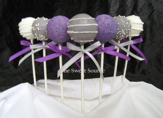 I think these are too cute and would be a sweet treat for your bridal shower.  Just an idea :-D! Purple and silver Wedding Cake Pops Made to Order with by TheSweetSource