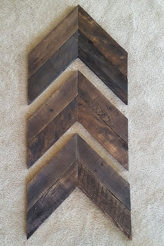 Set of 3 Large Wood Chevron Arrows, Wooden Arrow, Chevron Art, Reclaimed Pallet Wood, Rustic Decor, Farmhouse Decor, Americana Decor