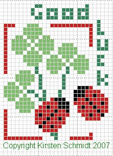 fleur - flower - trèfle - point de croix - cross stitch - Blog : http://broderiemimie44.canalblog.com/