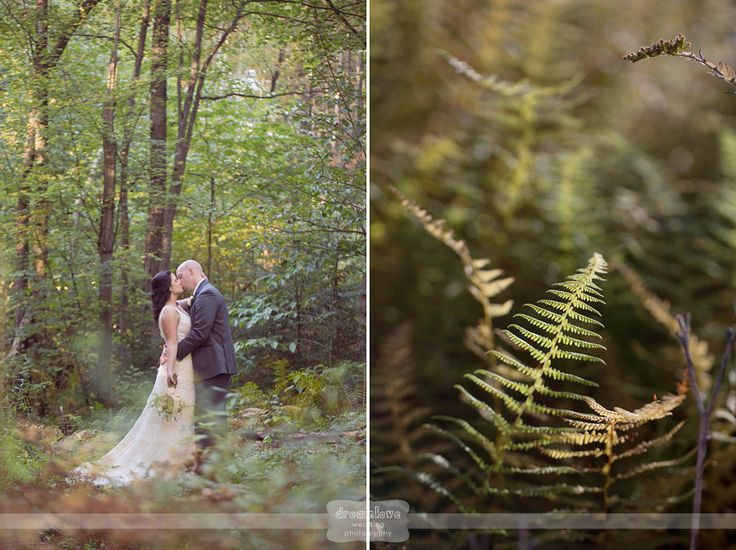 And Groom Kissing In The Woods Surrounded By Ferns After Their Lakeside Ceremony At Woodbound Inn NH One Of Best Venues New England