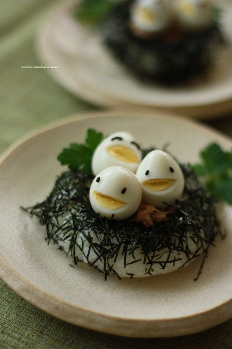 Chuckling Eggs: Have fun with boiled eggs leftover from Easter. Use black sesame seeds for eyes & black olive slices for eyelids. Cut in mouths using a small paring knife.