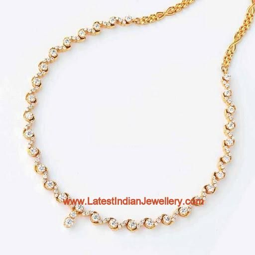 Simple Gold Diamond Necklacesimple Diamond Necklace For Classy Look Latest Indian Jewellery Nnoqsah