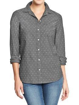 Women's Oxford Shirts - Gray Dot  Size XL Old Navy  $24.94