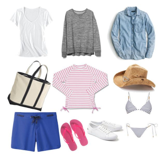 """""""mom beach style essentials"""" by cheryl-eisenschmid on Polyvore featuring Horny Toad, J.Crew, prAna, Gap, Melissa Odabash, Lacoste, Havaianas, L.L.Bean and Peter Grimm"""