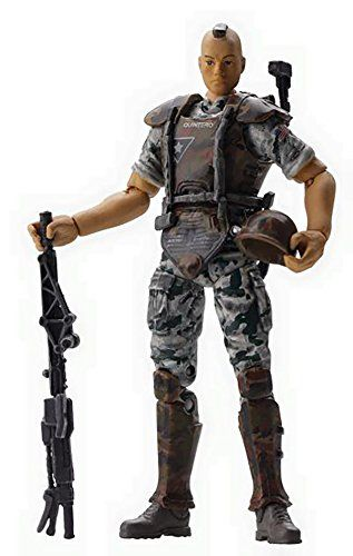 """Hiya Toys Aliens Colonial Marine Quintero 1:18 Scale Action Figure:   From Hiya Toys. Standing 3-3/4"""" tall, this Colonial Marine comes equipped with a pulse rifle, pistol, motion tracker, welding torch, M3 pattern personal armor, and M10 pattern ballistic helmet."""