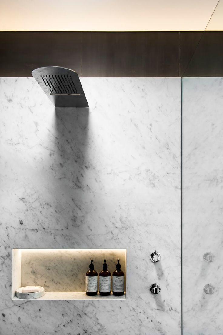 hidden lighting. this shower has a builtin shelf that hidden lighting to show off your m