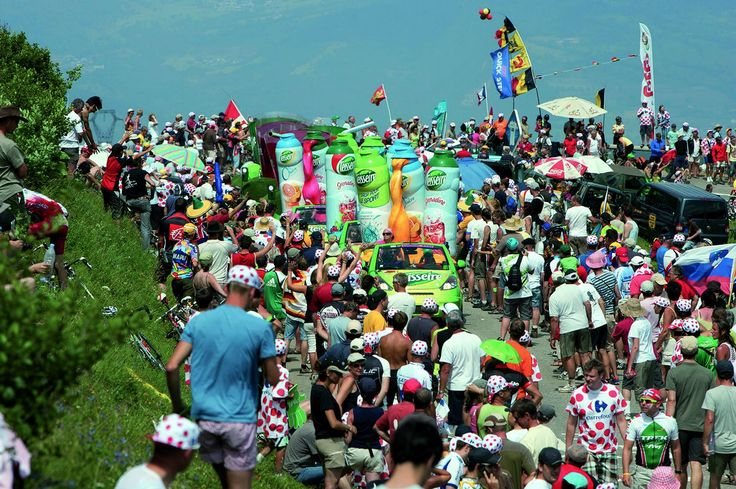 The French Teisseire team sponsors the Tour De France with their colourful floats and caravans
