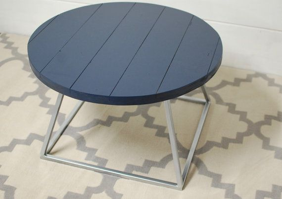 Round Wood Coffee Table Blue Contemporary Coffee Table, Navy Blue Table, Modern Living Room Furniture