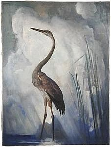'Great Blue Heron' by N. C. Wyeth PA/ME - Oil on Linen - Thomaston Place Auction Galleries | Artfact