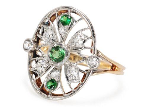 Web of Art Deco in a Demantoid Garnet Ring - The Three Graces
