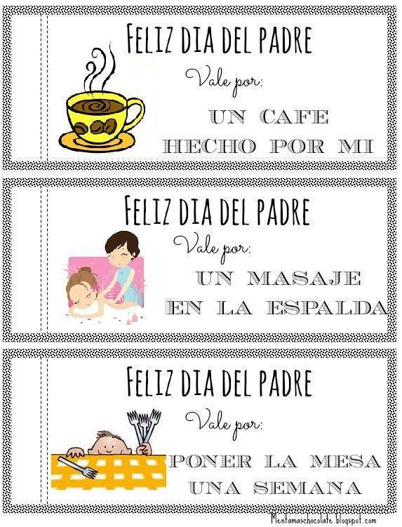 Menta Más Chocolate - RECURSOS y ACTIVIDADES PARA EDUCACIÓN INFANTIL: Vales para el DÍA del PADRE