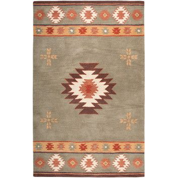 Green southwestern rug for great room- matches our colors