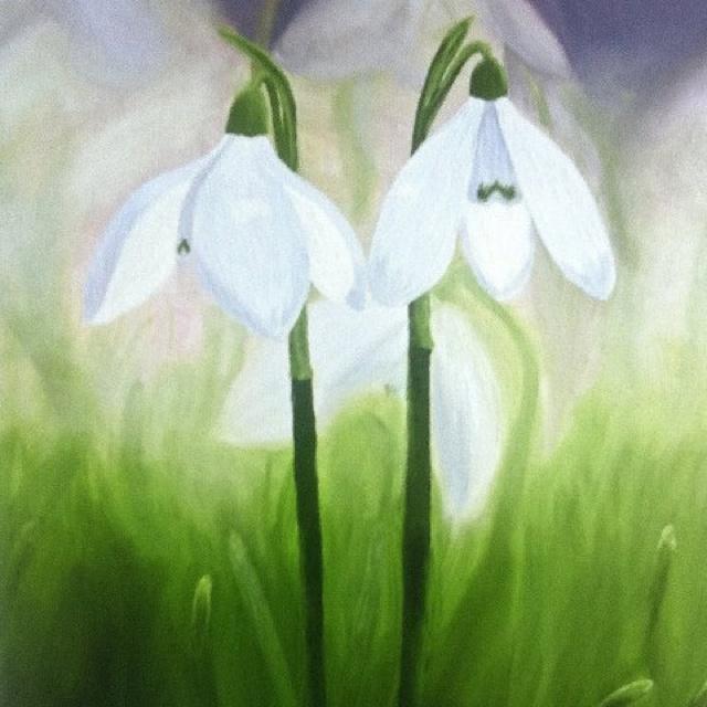 Snowdrop print taken from my original oil on canvas.