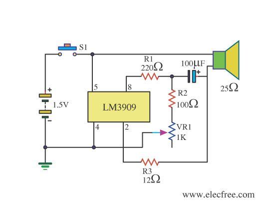 Mini Trombone Sound generator by LM3909.