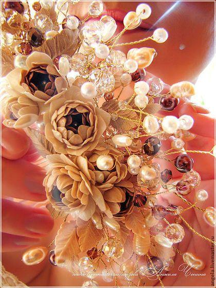 Фантазийный гребень с пионами для свадебной прически.Свадебный гребень с пионами в цветочном стиле. Украшение свадебной прически, натуральный жемчуг, цветы из полимерной глины, кварц, ювелирная проволока. Гребень для невесты с пионами кофейного цвета. Украшения в готическом стиле. Украшения для праздников и торжеств. Украшения для выпускного бала. Необычные украшения в подарок. Свадебный стиль. Аксессуары для невесты. Украшения в эльфийском стиле. Украшения в подарок девушке.